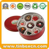 Modificado para requisitos particulares alrededor del estaño de las galletas del metal para los regalos del festival del día de fiesta de la Navidad