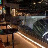 Sala de deportes de la seguridad U Channle barandilla de vidrio con pasamanos de madera