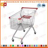 Supermarkt-Lichtbogen-Form-Chrom-Einkaufswagen-Laufkatze (Zht49)