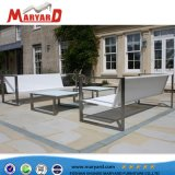 Aluminum/Stainless Steel Outdoor Sofa Set with Ottoman and Cushion