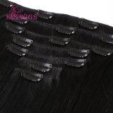 Clip Hair Extension Remy Clip brasileño en el cabello humano.