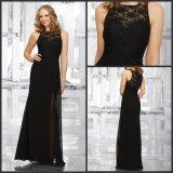 O laço preto Brdesmaid Chiffon Sleeveless do vestido de noite veste Z4021