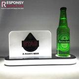 Cerveza pequeña POS Counter Display Display iluminado de 3 niveles de vino de acrílico de Rack de soporte de pantalla