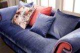 Sofà del salone dello strato del tessuto dell'azzurro di blu marino di disegno moderno della mobilia della Camera