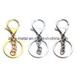 Anello chiave spaccato Keychain del metallo nichelato d'acciaio con gli accessori della catena dell'amo (HSS0006)