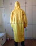 Langer gelber Regenkleidung-Poncho Belüftung-Regenmantel