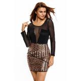 Sexy длинными рукавами сетчатый теневые стороны Sequin клуб платья