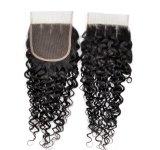 Virgem de cabelo humano Lace Encerramento no preço de venda por grosso (Curly)