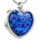 De blauwe Juwelen van het Roestvrij staal van de Tegenhanger van de Crematie van het Hart van het Glas Murano Elegante