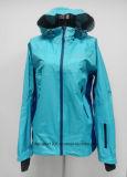 ジャケット100%年のポリエステル防水通気性の女性の3つの層の
