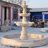 Кальций старинной фонтан три чаши Карвинг бассейн (GSF-107)