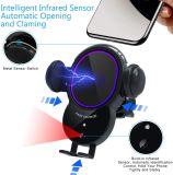 Draadloze autolader CD-sleuf Telefoonhouder, autoklemming 10W Qi snel opladen infrarood Smart sensor luchtventilatiecel telefoonhouder, compatibel met iPhone.