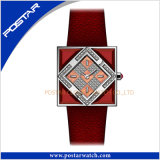 Squar整形スイスの動きの水晶女性特別な革女性の腕時計を着色しなさい