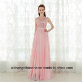A - ligne longue robe sans manche élégante Chiffon rose de bal d'étudiants
