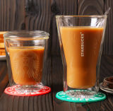 Starbuck 덮개 두 배 벽 유리를 가진 두 배 벽 커피잔