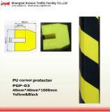 駐車場の黄色の黒PUのすみ金のダンパーのため