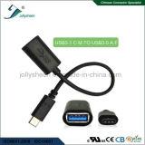 Digite C Macho para USB3.0 uma data fêmea/cabo com cabeça em PVC preto