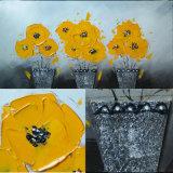 Nuova pittura a olio del garofano del POT di fiori di colore giallo di disegno (LH-700589)