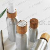 Vaso de alumínio cosméticos com parafuso de Bambu (PPC superior-ACB-064)