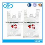 Sacs en plastique estampés recyclables faits sur commande de T-shirt pour des achats