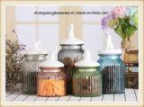 armazenamento pequeno colorido do frasco/produtos vidreiros dos doces 5PCS com tampa cerâmica