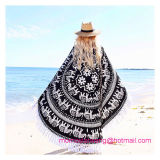 Círculo redondo Imprimir Toalla de playa con borla Mic