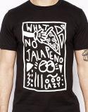 Gli uomini 100% del cotone mettono il disegno in cortocircuito di stampa della camicia di T del manicotto