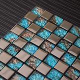 Mosaico azul de la decoración de la pared del azulejo de mosaico del metal de la mezcla del vidrio cristalino del nuevo diseño