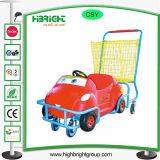 金属のバスケットを持つ子供のためのショッピングトロリーカート