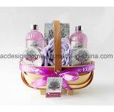 Migliore lozione del corpo del bagno di bolla del gel dell'acquazzone degli insiemi del regalo nel cestino tessuto del regalo