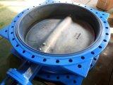 Valvola a farfalla flangiata attuata pneumatica del ferro duttile Ggg45 doppia con il disco dell'acciaio inossidabile
