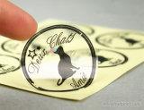 Contrassegno rotondo impermeabile autoadesivo stampa d'argento trasparente/libera