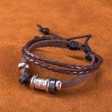 Оптовый западный браслет сбор винограда сделанный из ювелирных изделий Cowhide Handmade античным покрынных серебром