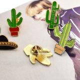 Fico d'India del cactus dello smalto ed oro della nave spaziale/Brooches placcati argento