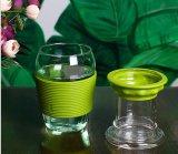 Tasse de café en verre de cuvette de café de course avec le couvercle pour la vente en gros