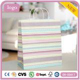 Bolsas de papel coloridas rayadas horizontales del regalo de las decoraciones del juguete de la ropa