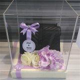 Caja de presentación de acrílico clara de encargo de la pantalla de seda con la tapa