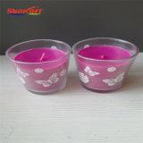 Il vaso di vetro viola esamina in controluce all'ingrosso in casella di colore