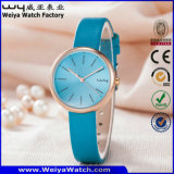 Montre-bracelet de dames de quartz de courroie en cuir de mode d'ODM (Wy-126E)