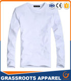 Maglietta lunga del cotone del manicotto del ricamo su ordinazione di stampa per gli uomini