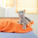 Cobertor do velo com o hipopótamo encantador do luxuoso (180gr/m2), ideal para crianças