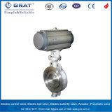 Válvula de borboleta pneumática Offset do aço inoxidável do selo do metal triplicar-se Dn150 do API 609