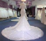 La moda de encaje de flores Plaid Cordón sirena vestidos de novia vestido de novia