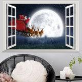 La Navidad Papá Noel de DIY/decoración mural del hogar de la Navidad de la pared movible de la etiqueta engomada 3D de la pared del muñeco de nieve