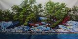 Venda por grosso de paisagem florestal decorativos artesanais pintura a óleo para Decoração de parede