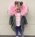 Customized Kids Duck Para Baixo Casaco com Faux Fur