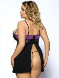 en ropa interior de costura del halter de Blackless de la talla grande púrpura común del cordón con la cadena de G