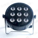 9 indicatore luminoso sottile eccellente piano di plastica di vendita caldo della fase PAR64 del LED 10W RGBW 4in1