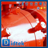 Didtek assis en métal forgé haute pression de clapet à bille de tourillon avec engrenage à vis sans fin