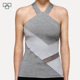 Parte superior atlética Sleeveless da colheita da camisola interioa respirável da ginástica do desgaste do esporte